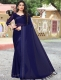 Navy Blue Satin Plain Party Saree