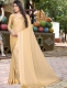 Cream Yellow Satin Plain Party Saree