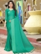 Jungle Green Satin Plain Party Saree