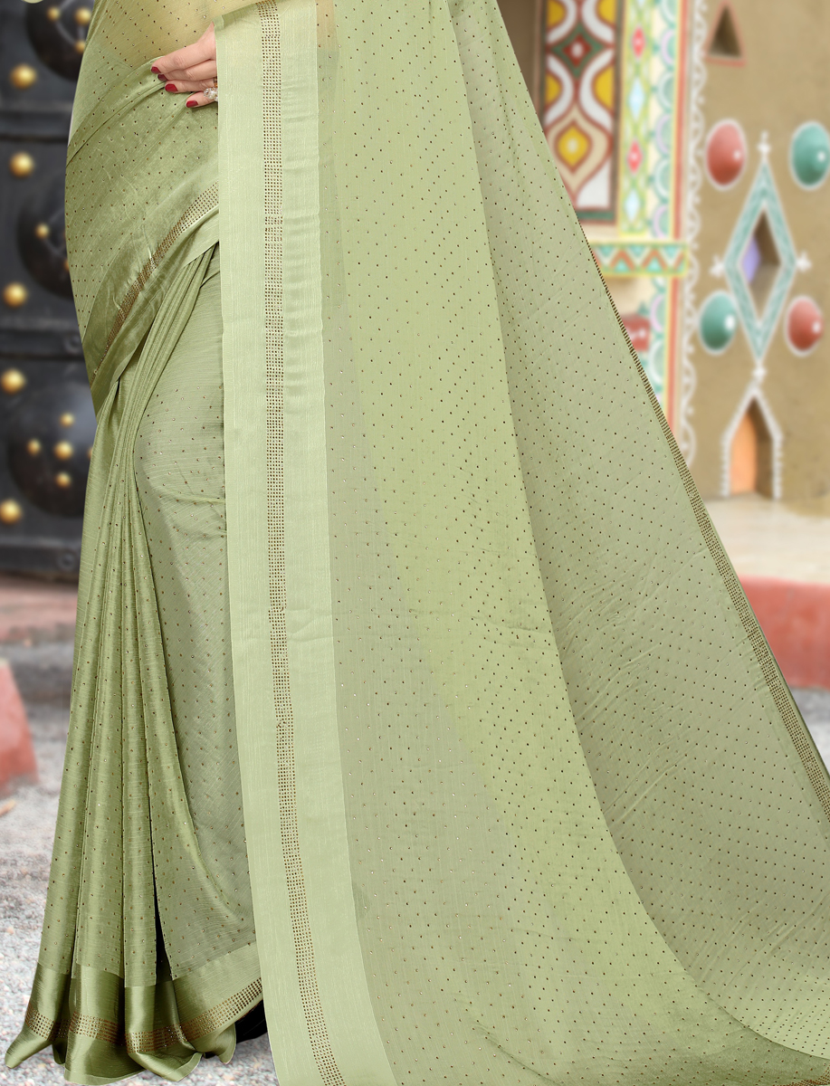 Asparagus Green Satin Plain Party Saree