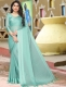 Sky Blue Satin Plain Party Saree