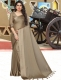 Taupe Brown Satin Plain Party Saree