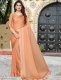 Coral Orange Satin Plain Party Saree