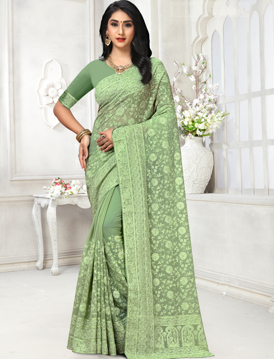 Asparagus Green Faux Georgette Embroidered Party Saree