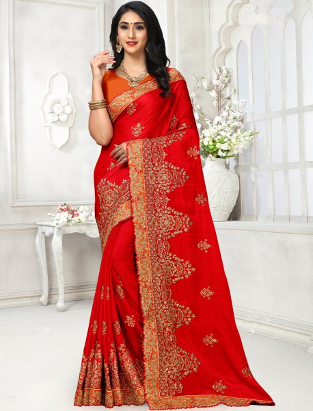 Rose Madder Red Satin Georgette Embroidered Party Saree