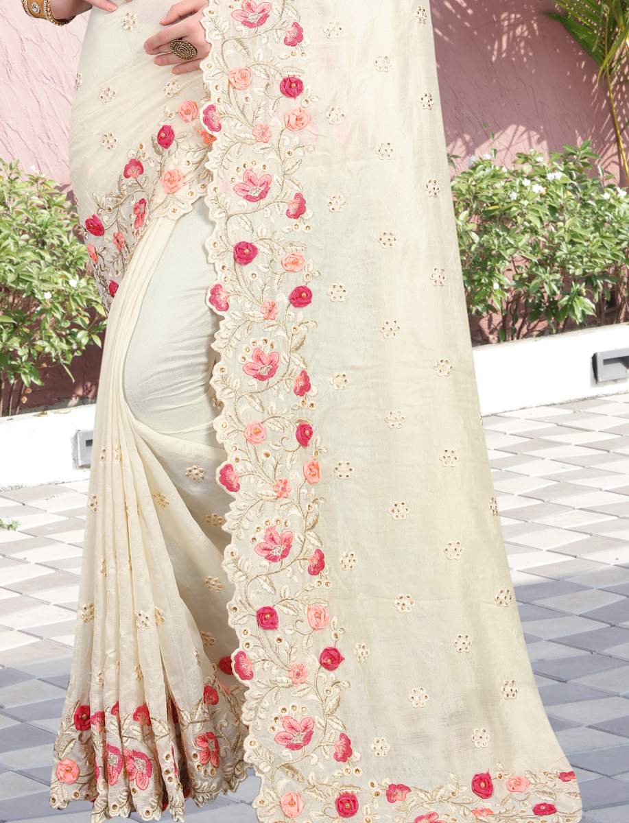 Off-White Vichitra Silk Embroidered Party Saree