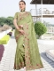 Asparagus Green Vichitra Silk Embroidered Party Saree