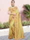 Golden Yellow Vichitra Silk Embroidered Party Saree