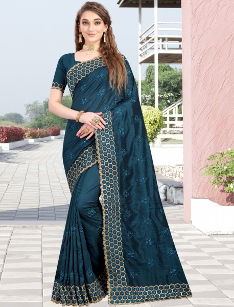 Cerulean Blue Vichitra Silk Embroidered Party Saree