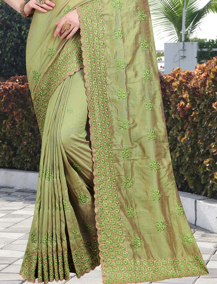 Light Green Vichitra Silk Embroidered Party Saree