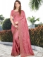 Brink Pink Vichitra Silk Embroidered Party Saree