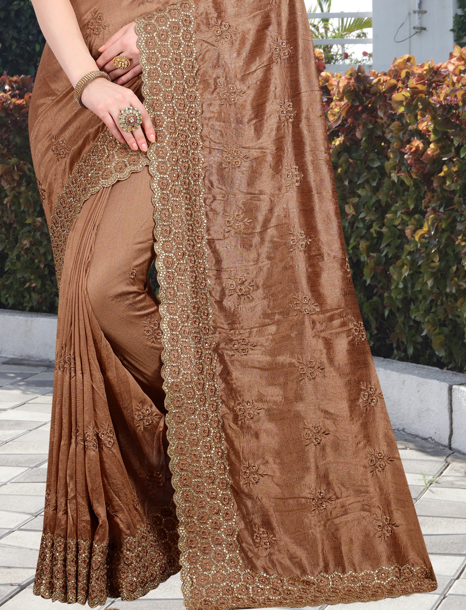 Russet Brown Vichitra Silk Embroidered Party Saree