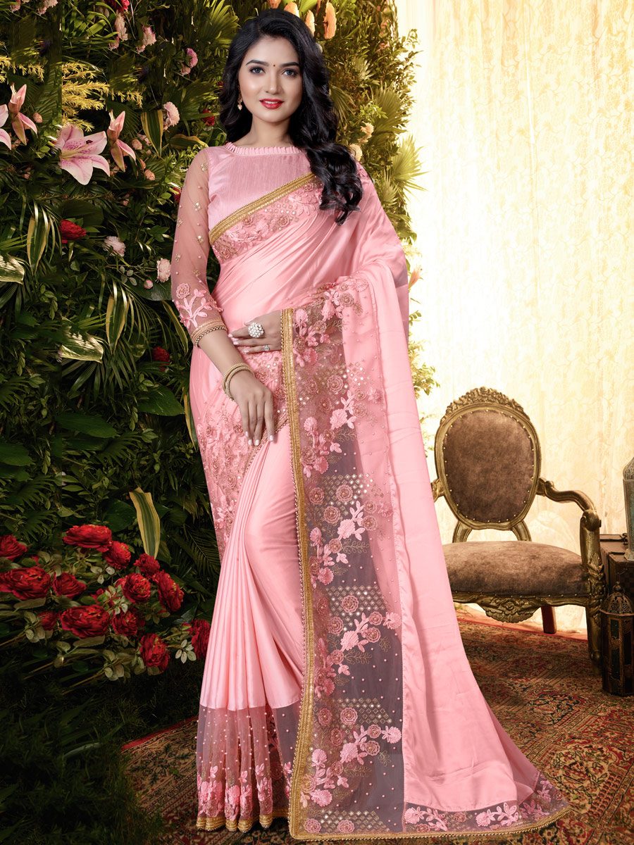Salmon Pink Satin Embroidered Festival Saree