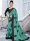 Jungle Green Vichitra Silk Embroidered Party Saree