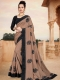 Fallow Brown Vichitra Silk Embroidered Party Saree