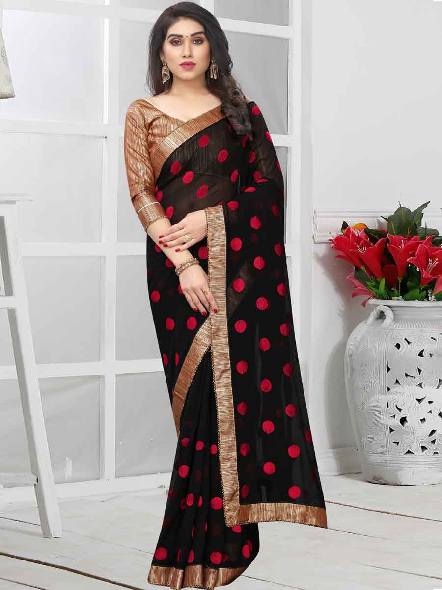 Black and Red Faux Georgette Embroidered Party Saree