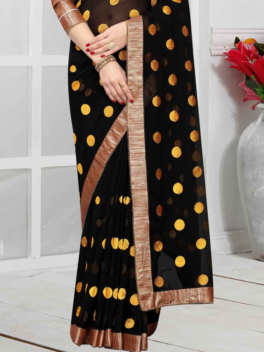 Black and Yellow Faux Georgette Embroidered Party Saree