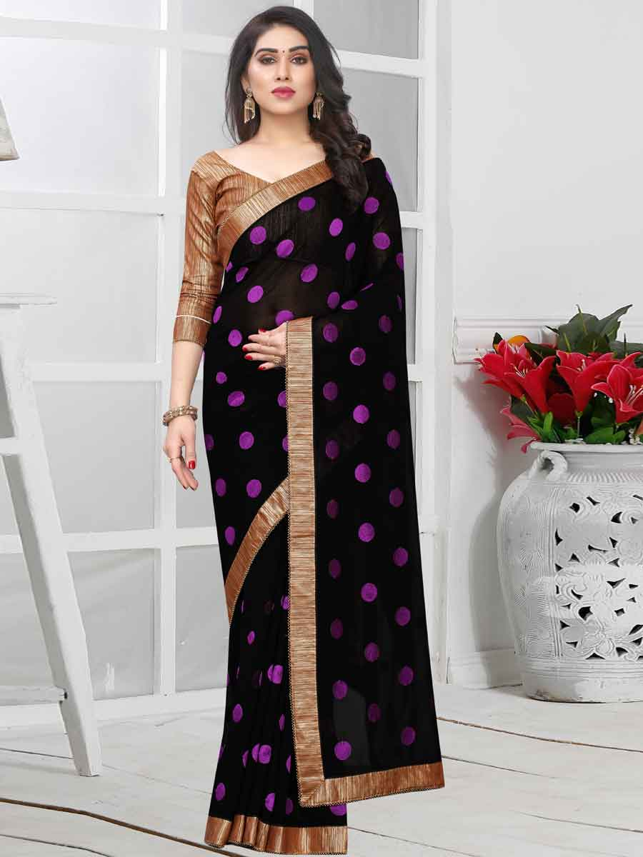 Black and Purple Faux Georgette Embroidered Party Saree
