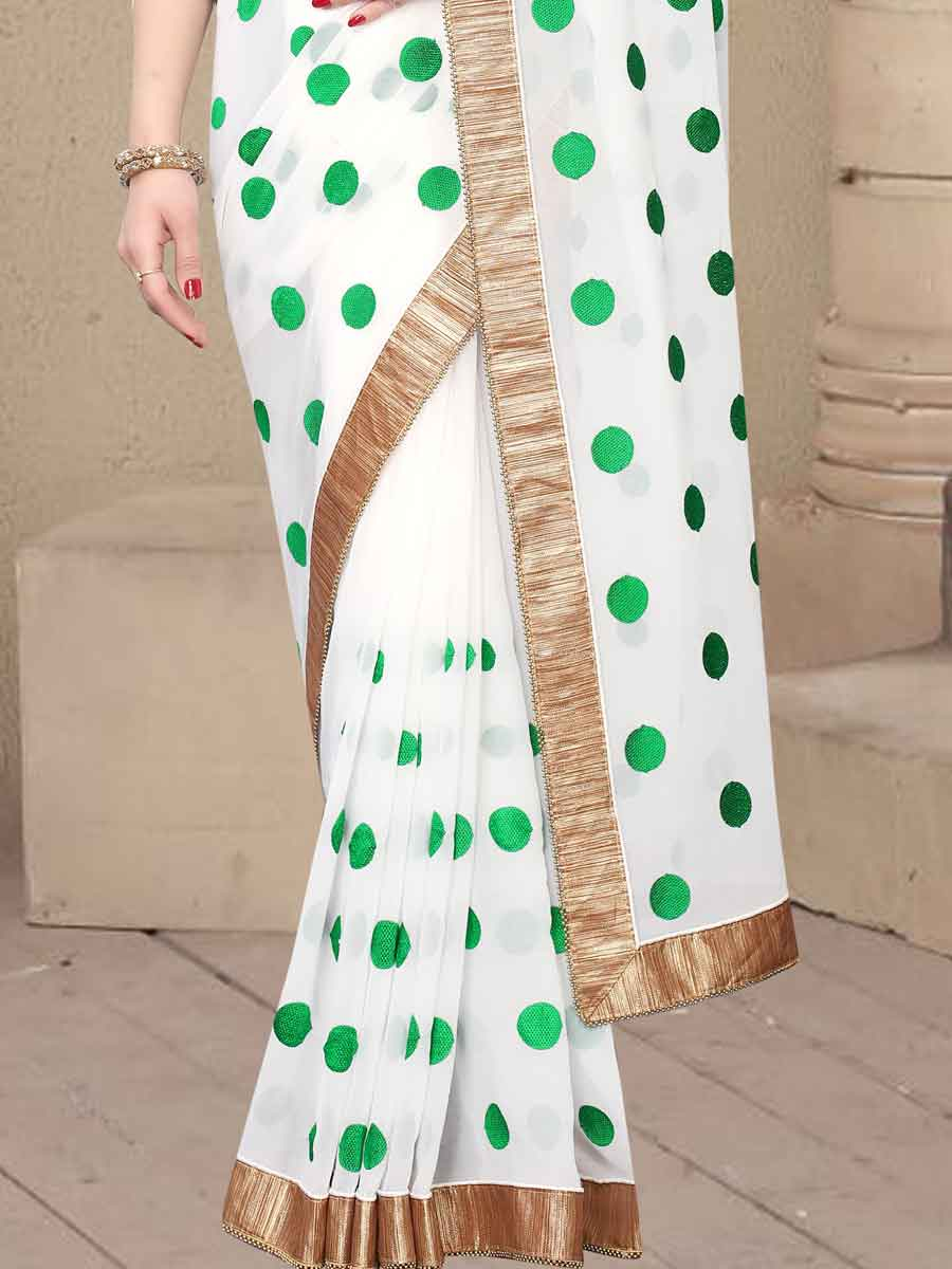 White and Green Faux Georgette Embroidered Party Saree