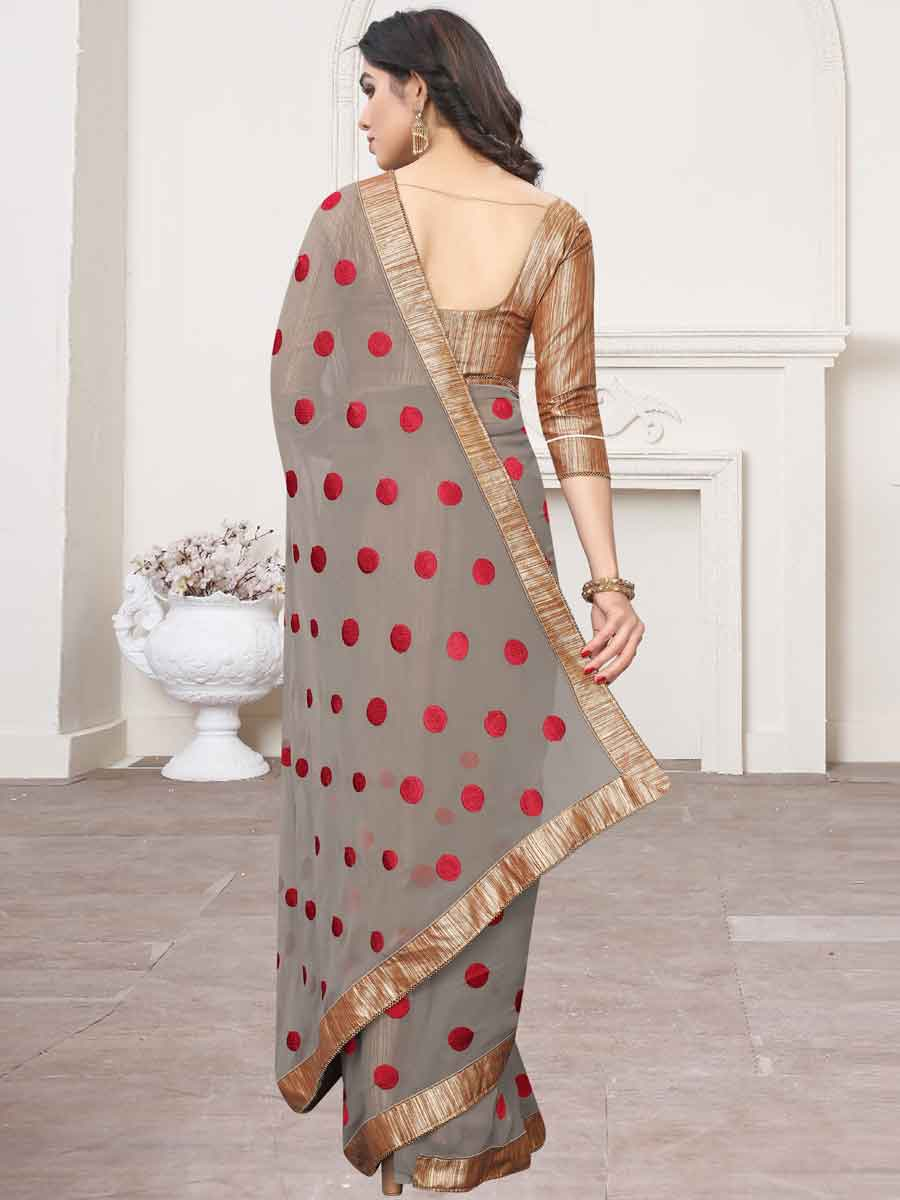 Gray and Red Faux Georgette Embroidered Party Saree