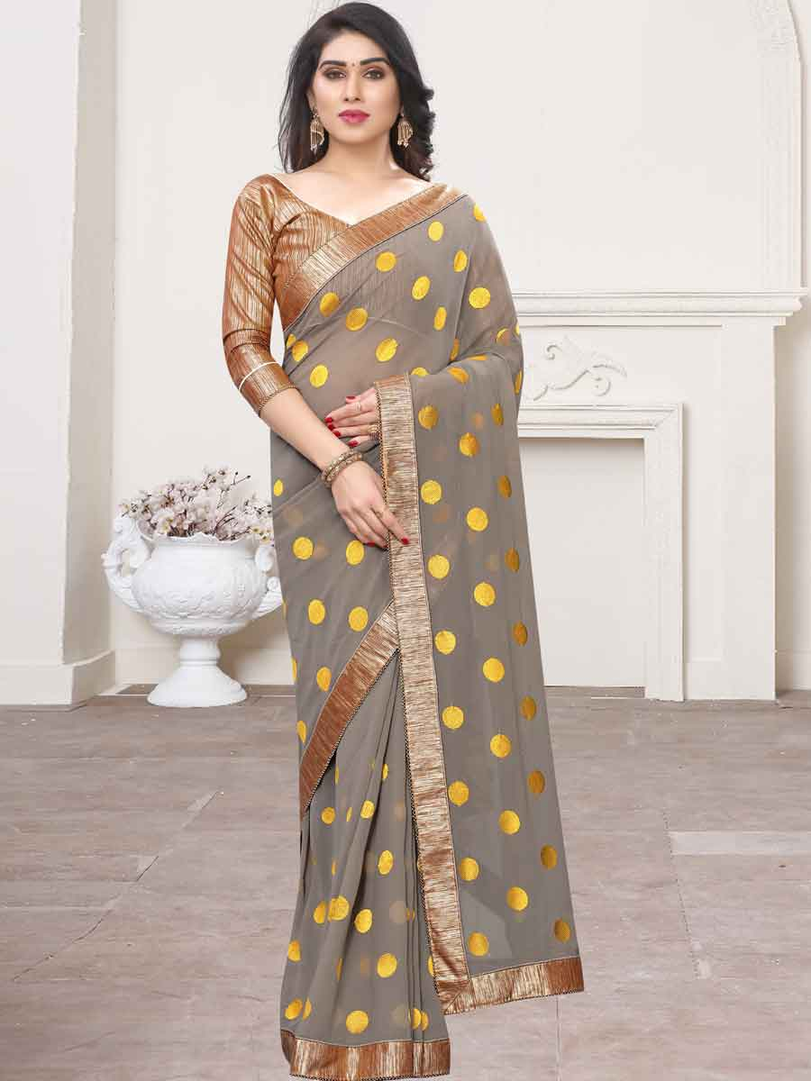 Gray and Yellow Faux Georgette Embroidered Party Saree