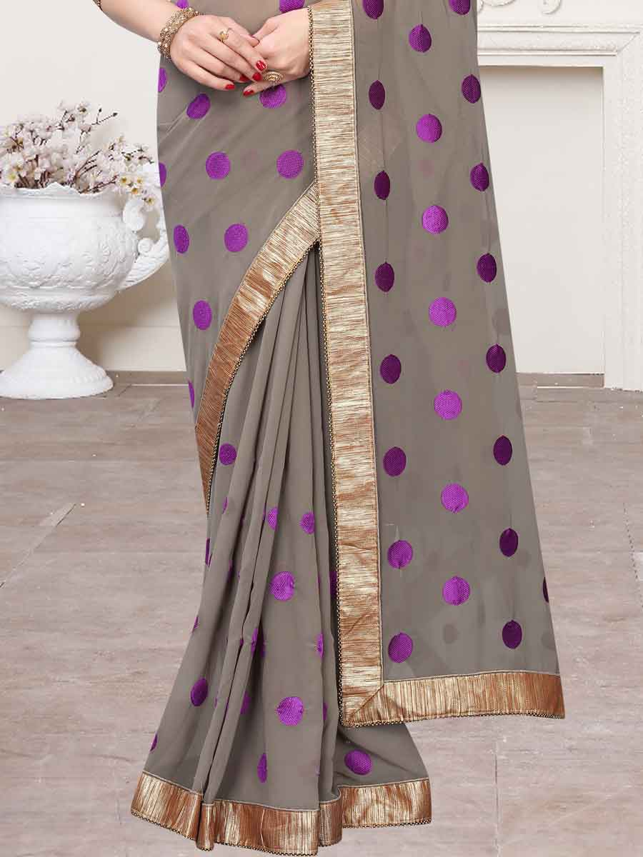 Gray and Purple Faux Georgette Embroidered Party Saree