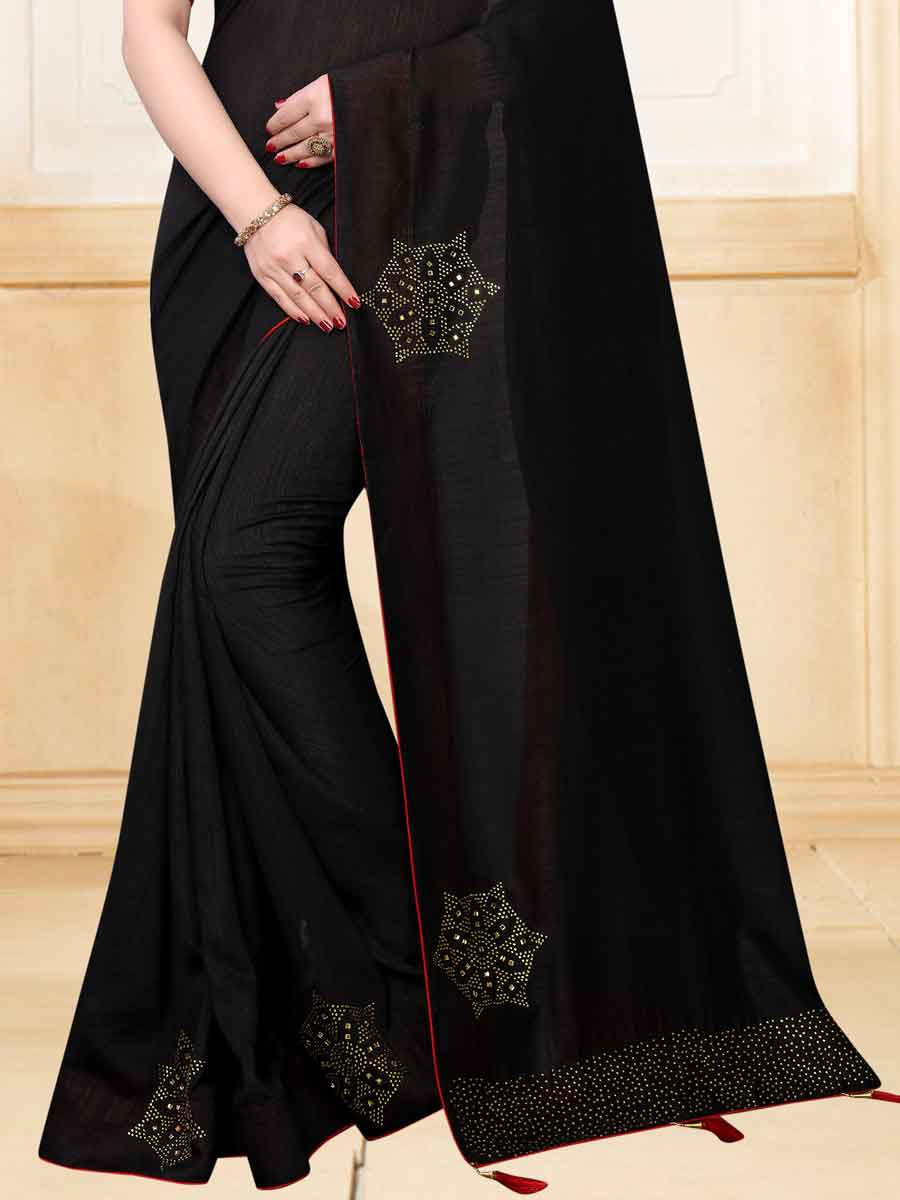 Black Vichitra Silk Plain Party Saree