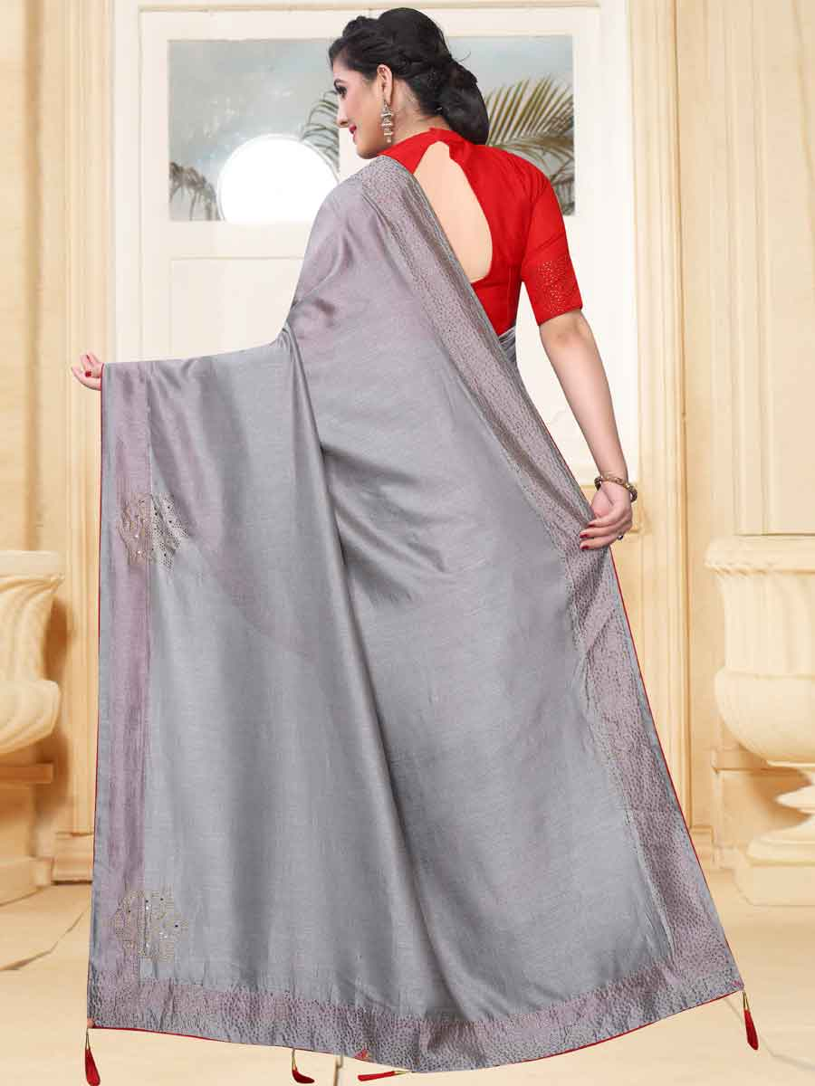 Gray Vichitra Silk Plain Party Saree