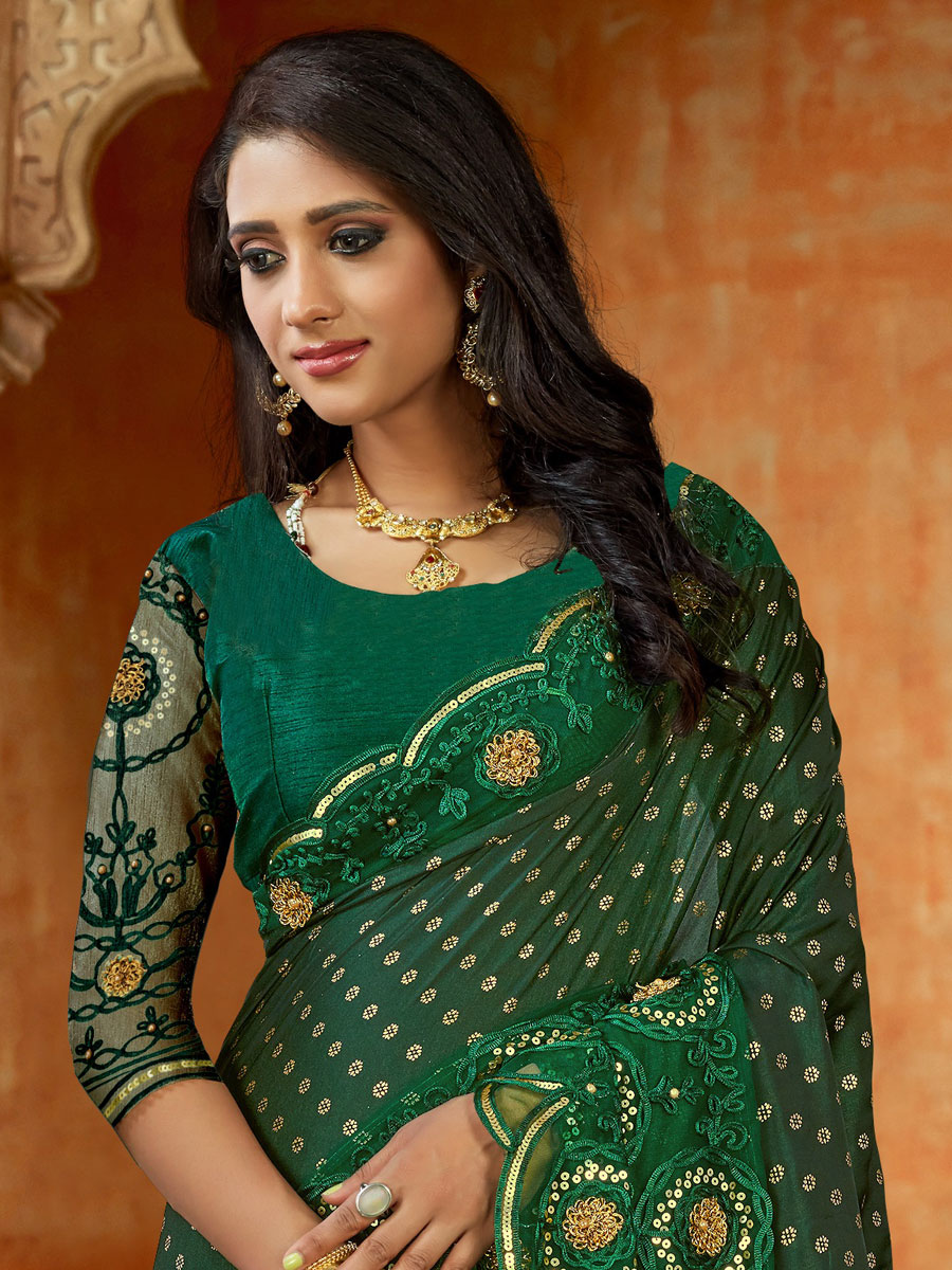 Hunter Green Satin Embroidered Party Saree