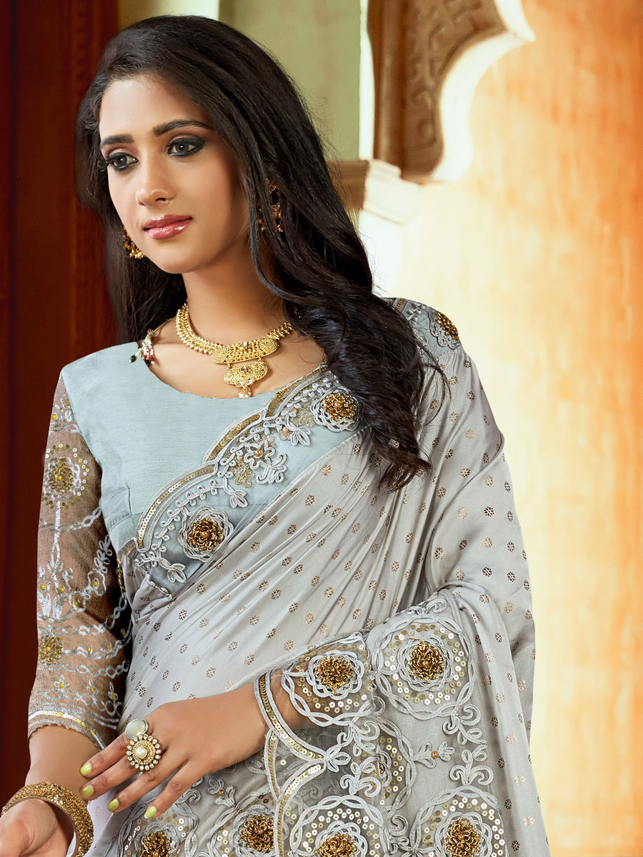 Light Gray Satin Embroidered Party Saree