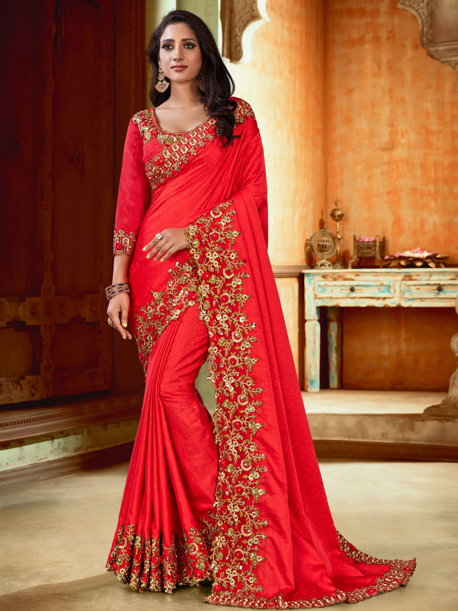 Vermilion Red Satin Embroidered Party Saree