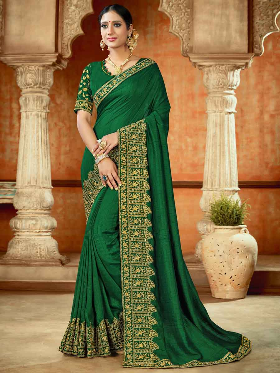 Hunter Green Silk Embroidered Party Saree
