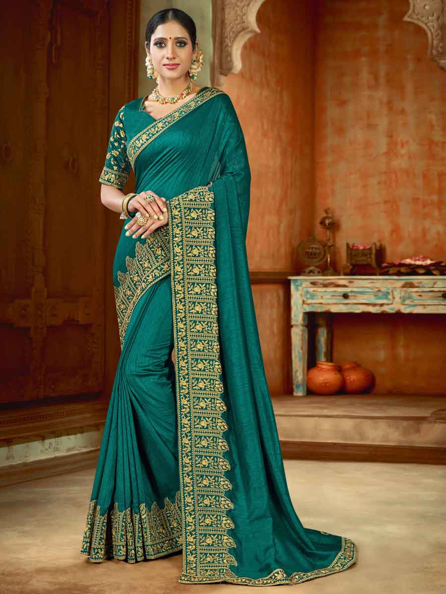 Teal Green Silk Embroidered Party Saree