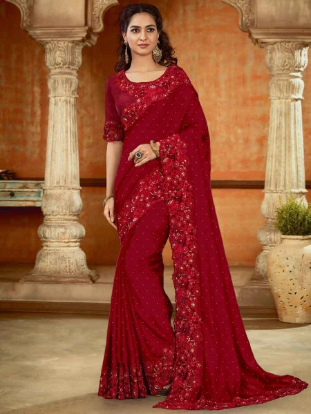 Venetian Red Satin Embroidered Party Saree