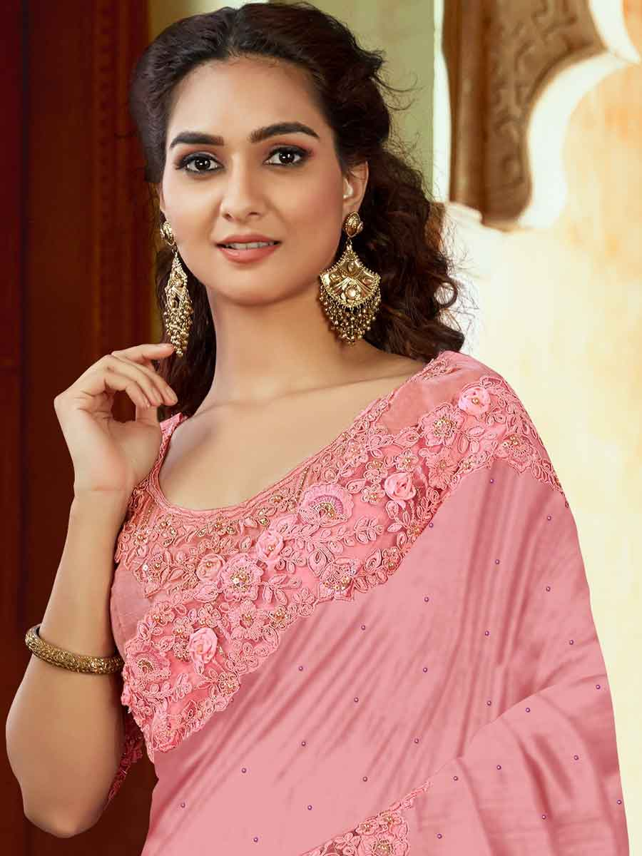 Salmon Pink Satin Embroidered Party Saree