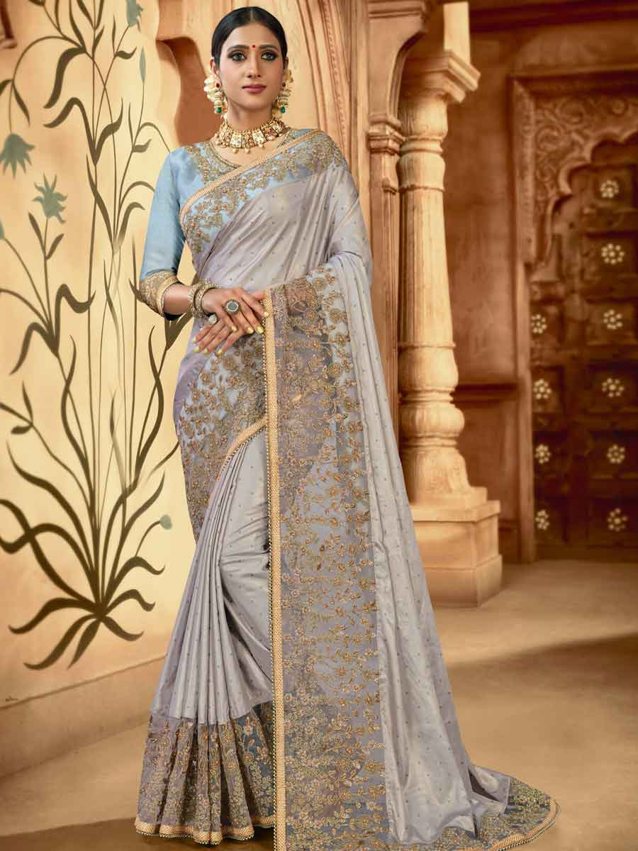 Gray Satin Embroidered Party Saree