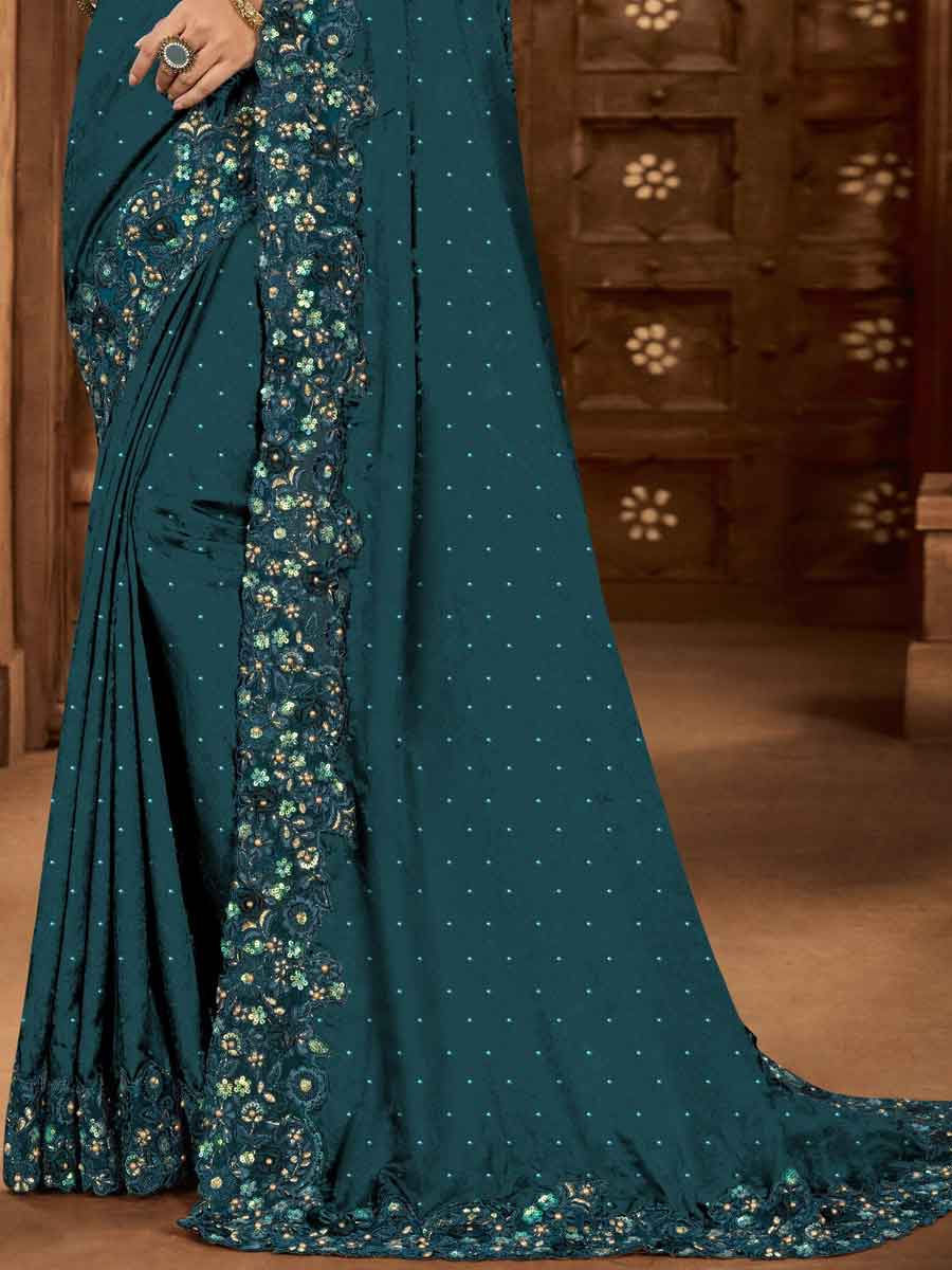 Teal Blue Satin Embroidered Party Saree