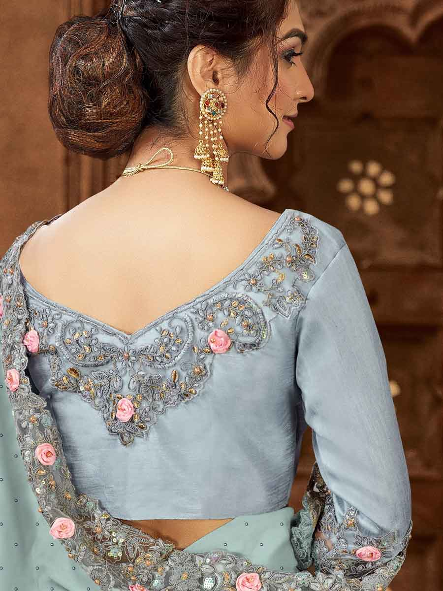 Columbia Blue Satin Embroidered Party Saree