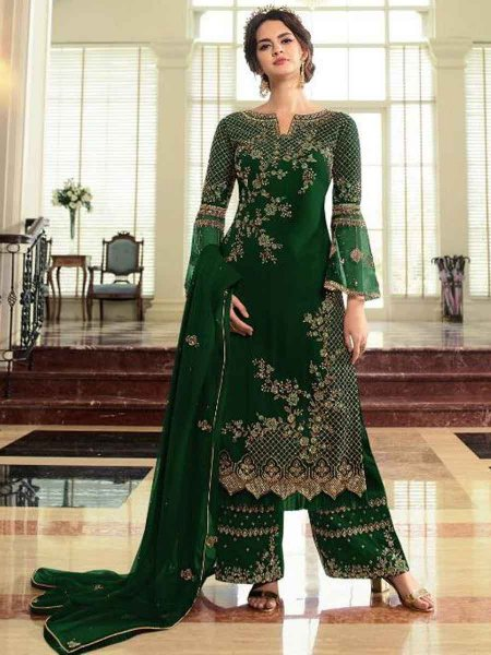 Hunter Green Faux Georgette Embroidered Festival Palazzo Pant Kameez