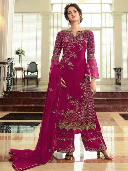 Magenta Pink Faux Georgette Embroidered Festival Palazzo Pant Kameez