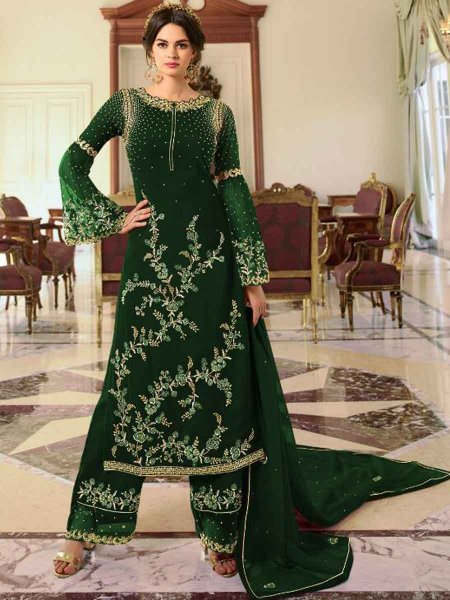 Hunter Green Faux Georgette Embroidered Party Palazzo Pant Kameez
