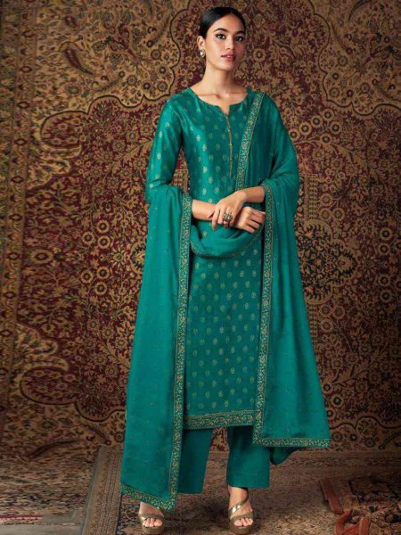 Pine Green Silk Embroidered Festival Palazzo Pant Kameez