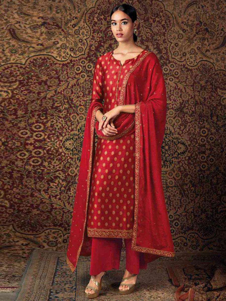 Rose Madder Red Silk Embroidered Festival Palazzo Pant Kameez