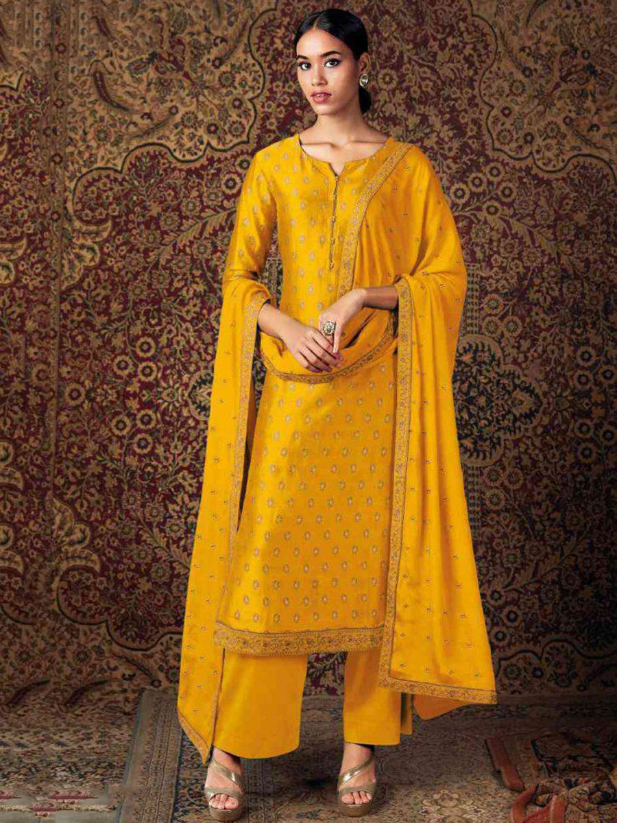 Mustard Yellow Silk Embroidered Festival Palazzo Pant Kameez