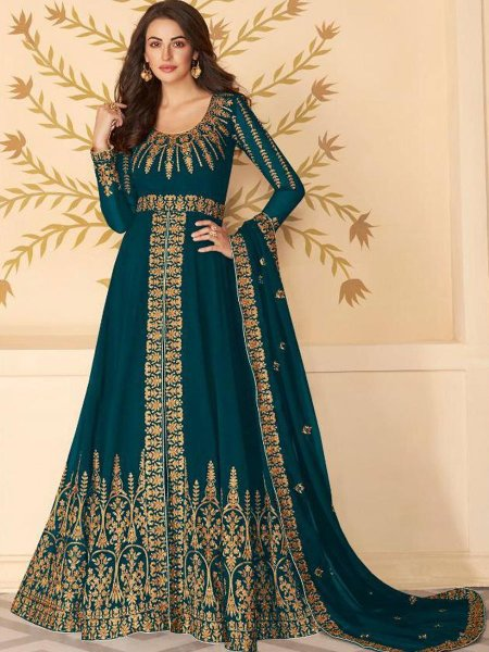 Teal Green Faux Georgette Embroidered Party Lawn Kameez