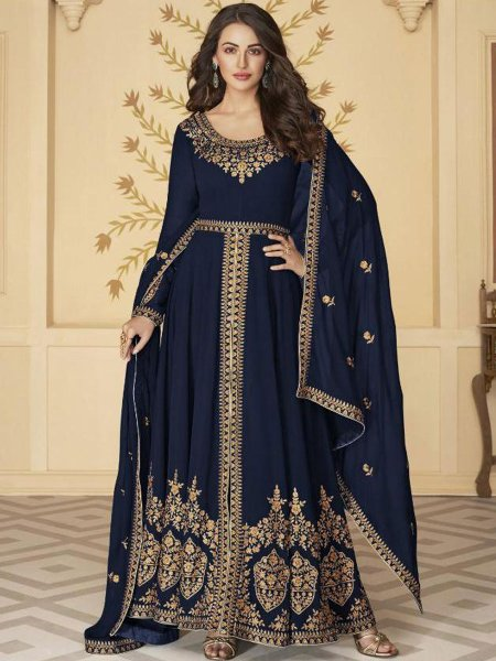 Navy Blue Faux Georgette Embroidered Festival Lawn Kameez