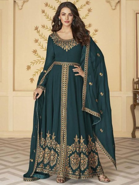 Teal Green Faux Georgette Embroidered Festival Lawn Kameez