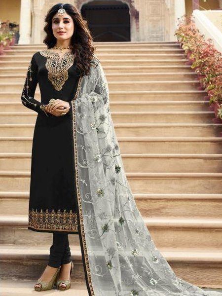 Black Satin Georgette Embroidered Festival Churidar Pant Kameez