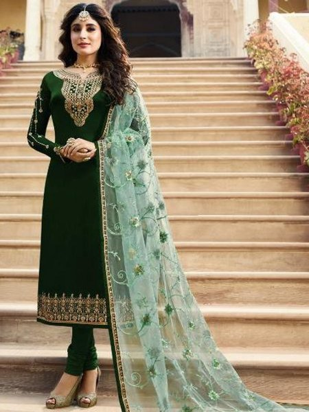 Hunter Green Satin Georgette Embroidered Festival Churidar Pant Kameez