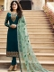 Teal Green Satin Georgette Embroidered Festival Churidar Pant Kameez